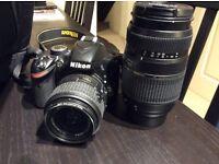 Nikon D3200 DSLR with two lenses 18-55 DX VR Kit Lens and Tamron A17 AF 70-300