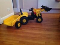 JCB Ride on digger and trailer