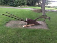 Antique horse drawn furrow plough for garden ornament