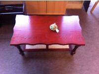 EXCELLENT CONDITION Solid mahogany and rattan coffee table, storage space underneath