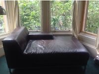 Brown leather ikea chaise longue sofa settee couch