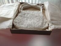 White beaded bag with shaped handles Unused and Boxed