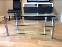 Glass and chrome TV stand/unit