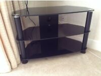 Television Black Glass Stand