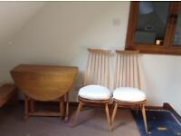 Ercol fold down table and goldsmith high back chairs
