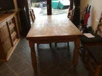 Mexican Pine Dining Table, Chairs (x4), Dresser & Mirror