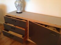Sideboard solid light wood 2 doors 3 dovetail drawers in darkish colour L 180cm excellent condition
