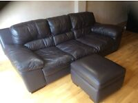 As New Brown 3 Seater Settee with matching footstool/storage