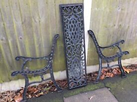 DECORATIVE CAST IRON BENCH ENDS AND BACK SUPPORT