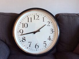 Large Clock, Black, metal. Good condition, perfect for anywhere in the house
