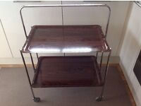 Retro 1960s Vintage Chrome and Formica Folding 2 Tier Hostess Trolly