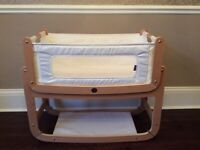 Snuzpod bedside crib. Natural beech wood. Great condition.