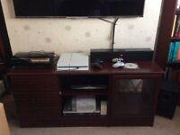TV Hi- Fi sideboard storage cabinet living room - dark Mahogony