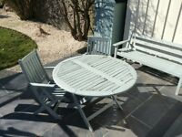 Round Garden Table with Two Chairs - Wooden Painted in Neptune Moss Eggshell