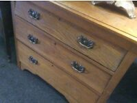 Reduced vintage oak chest of drawers