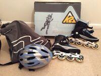 K2 Athena Women's size 6, SoftBoot Inline Skates, helmet and skates rucksack for sale  Ferndown, Dorset