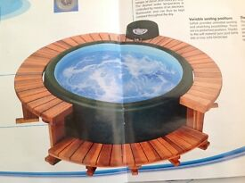Hot tub made by Soft-tub. Seats 5/6 people. Very economical to run using only a 13 amp plug