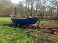 16ft fishing boat with beach launch trailer