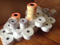 Box of till rolls, visa rolls and price labels for shops