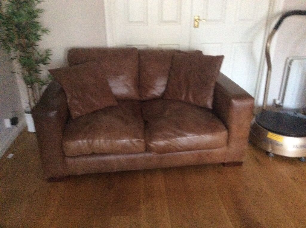 2 Brown Leather Sofas 1 Large Seater Sofa Bed And Small