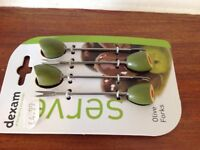 Card with 4 brand new olive forks, could be a stocking filler