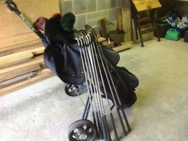Golf trolley, clubs and bag