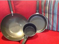 9 x Sauce Pans: 3-Tier Steamer; Wok; Frying & Milk Pans; set of 3 pans & assorted free cutlery etc.