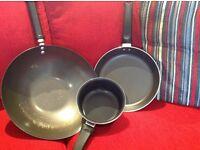 9 x Sauce Pans: 3-Tier Steamer; Wok; Frying & Milk Pans; set of 3 pans & assorted free cutlery etc.