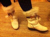 Women's Fur White Boots