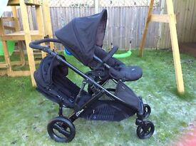 BRITAX B-DUAL Tandem (double) buggy / Travel System - Excellent Condition - Complete