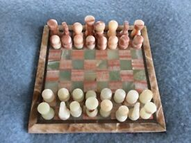 Beautiful marble/onyx chess set and board