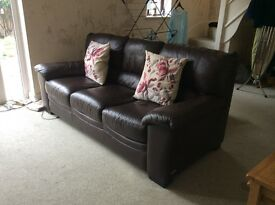 Two seater and three seater sofas dark brown Leather