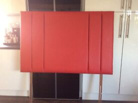 Red double bed faux leather large headboard