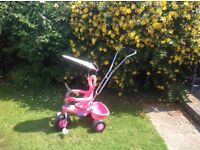 Trike with push handle - pink!