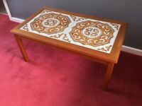 Vintage Danish tile top coffee table