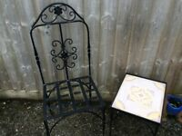 metal chair with two tables