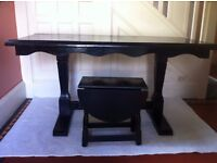 Set of Black Gothic Refectory Table, Small Coffee Table + 4 Free Dining Chairs