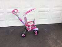 Child's trike with canopy and safety harness.