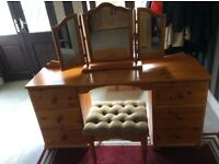 Pine dressing table, mirror and stool.