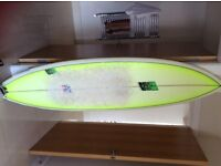 """Nigel Semmens B52 surfboard - 6'8"""" surfed only 3 times - fantastic condition, no dings"""