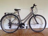 Woman's Ridgeback Speed Metro Hybrid Bike and lock