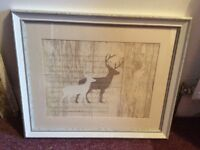 Lovely large stag picture in frame