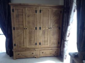 More than 60% off RRP -beautiful rustic hand crafted rustic double wardrobe free local delivery!