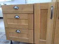 Kitchen units with solid oak doors good condition