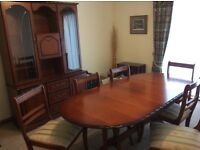 Dining room suite cherry wood,six chairs,table and matching display cabinet