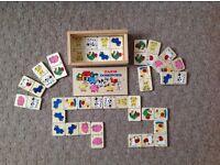 Children's wooden Dominoe Farm Set.