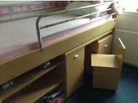 Quality cabin bunk bed with integral desk/chair/shelfing