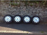 Volkswagen t5 load rated wheels and tyres,4-5mm of tread left on all tyres.