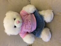 White & pink Build-A-Bear with 2 outfits