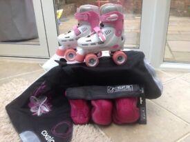 SFR Racing Storm Girls Adjustable Roller Skates, size 12-2, White/Pink with Skate Bag and Pad Set